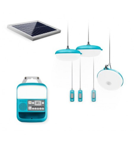 Lampe, station de charge & radio - système solarhome 620